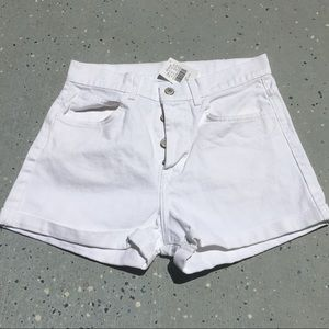 Brandy Melville White button fly shorts NWT
